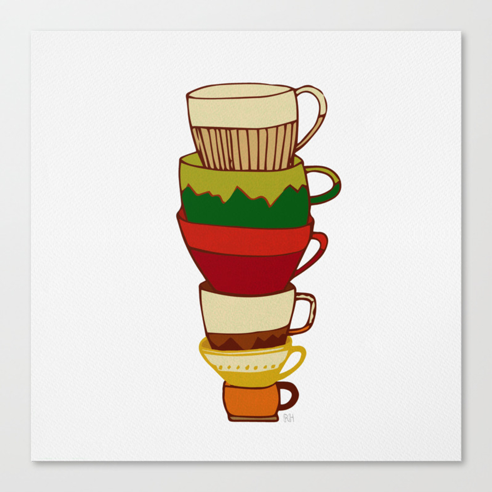Red Green Yellow Tea Cups Canvas Print by Rebeccahowe CNV8952305