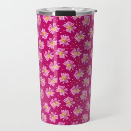 Summer Flower Pattern in Fuchsia and Pink Travel Mug