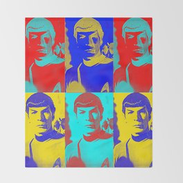 Science Officer Spock (Andy Warhol Remix) Throw Blanket