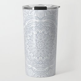 Light Gray Ethnic Eclectic Detailed Mandala Minimal Minimalistic Travel Mug
