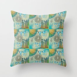 Vintage Bicycle and Corsets Throw Pillow