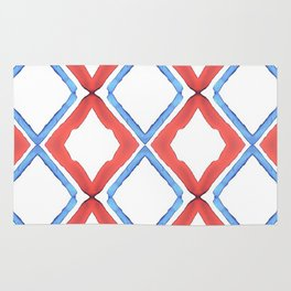 Red and Blue Diamond Pattern Rug