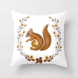 Pregnant Squirrel Throw Pillow