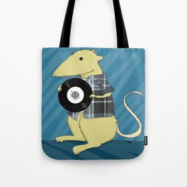 A 90s Record store day, or: a mouse in a classic grunge flennel shirt, with vinyl Tote Bag