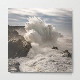Crashing Waves Explode off the Rocky Cape Arago Oregon Coastline Metal Print