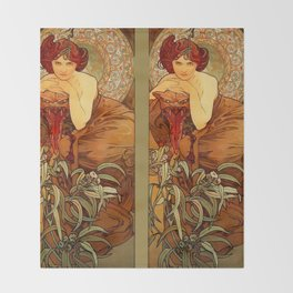 "Alphonse Mucha ""The Precious Stones Series: Emerald"" Throw Blanket"