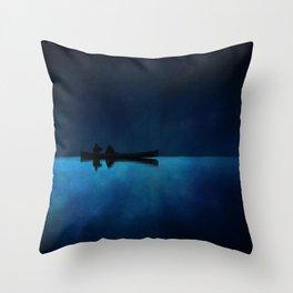 Canoe at Night Throw Pillow