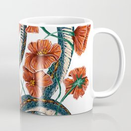 Let Go, Let Grow – Teal Snake in Red Poppies Coffee Mug