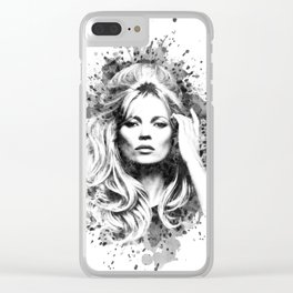 Watercolor Sixties Style Kate Moss Clear iPhone Case