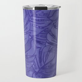Monstera leaves - Ultra Violet and Lilac Travel Mug