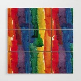 rainbow watercolor Wood Wall Art