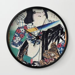 Kunichika Tattooed Warrior with Bamboo Pattern Background Wall Clock