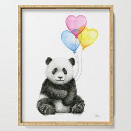 Panda Baby with Heart-Shaped Balloons Whimsical Animals Nursery Decor Serving Tray