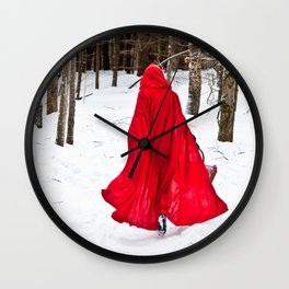 Little Red Riding Hood Runs Through The Woods In Winter Wall Clock