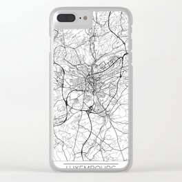 Luxembourg Map White Clear iPhone Case