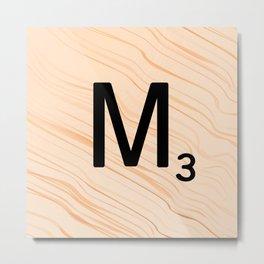 Scrabble Letter M - Large Scrabble Tiles Metal Print