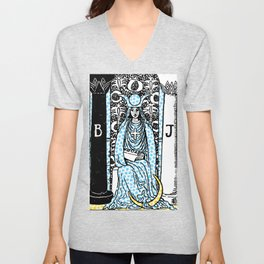 Modern Tarot - 2 The High Priestess Unisex V-Neck