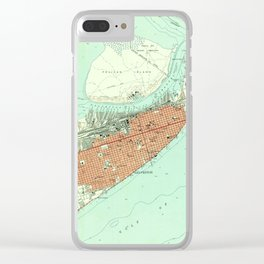 Vintage Map of Galveston Texas (1954) 3 Clear iPhone Case