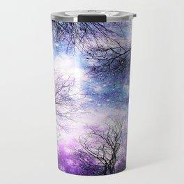 Black Trees Violet Purple Blue Space Travel Mug