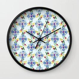 Spring Flower Rubber Stamp Pattern Design (Light Mint Green Background) Wall Clock