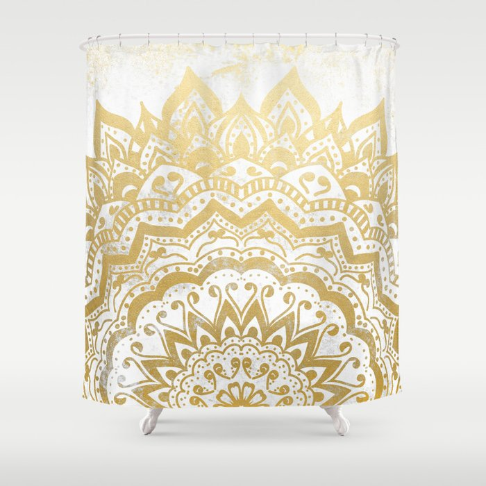 Gold Orion Jewel Mandala Shower Curtain