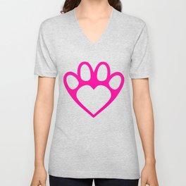 Paw Prints on my Heart - in Magenta Unisex V-Neck