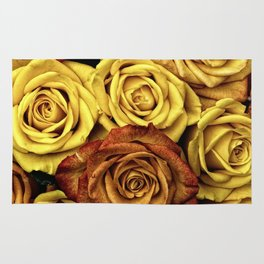 Golden Yellow Roses Pattern (Color) Rug