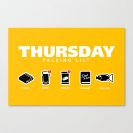 THURSDAY - The Hitchhiker's Guide to the Galaxy Packing List Canvas Print