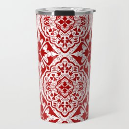 BOHEMIAN PALACE, ORNATE DAMASK: RED and WHITE Travel Mug
