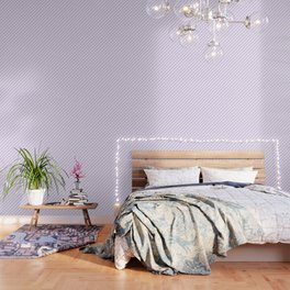 Chalky Pale Lilac Pastel and White Candy Cane Stripes Wallpaper