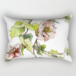 Camellia Inspired Flower Branch Rectangular Pillow