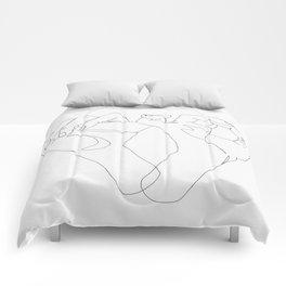 minimalist hand drawing Comforters