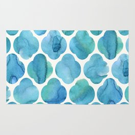 Watercolour Blue Moroccan Tile Print Rug