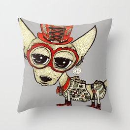 Steampunk Chihuahua gray grey Throw Pillow