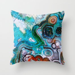 Color Burst Rings Throw Pillow