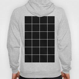 white grid on black background - Hoody