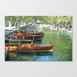 Boats on Lac D'annecy Canvas Print