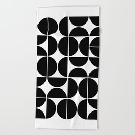 Mid Century Modern Geometric 04 Black Beach Towel