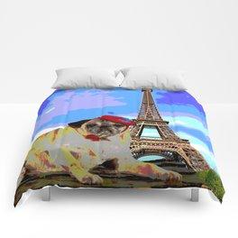 A Pug in Paris Comforters