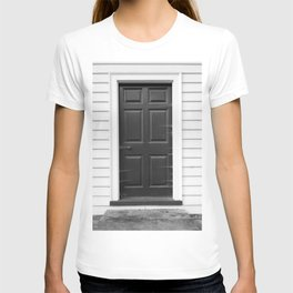 Door with Cobwebs in Black and White T-shirt