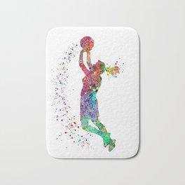 Basketball Girl Player Sports Art Print Bath Mat