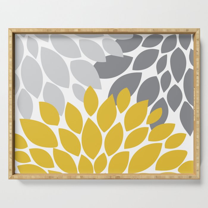 petals grey and yellow Serving Tray