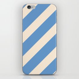 Antique White and Blue Grey Diagonal Stripes iPhone Skin