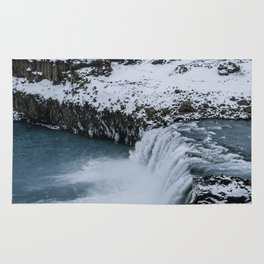 Waterfall in Icelandic highlands during winter with mountain - Landscape Photography Rug