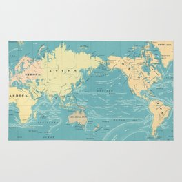 Vintage Map of The World (1845) Rug