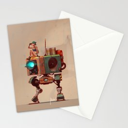 Robot with a girl Stationery Cards