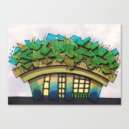 Rooftop Garden Architectural Illustration Canvas Print