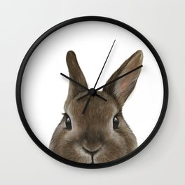 Netherland Dwarf rabbit illustration original painting print Wall Clock