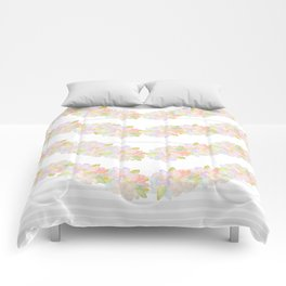 Watercolor garden and stripes Comforters