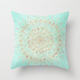 Mint and gold mandala Throw Pillow
